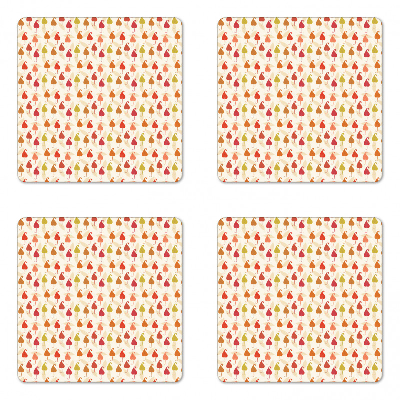 Abstract Autumn Leaf Art Coaster Set Of Four