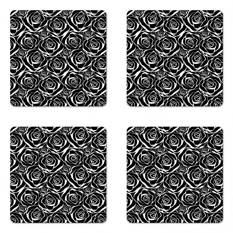 Abstract Art Rose Flowers Coaster Set Of Four