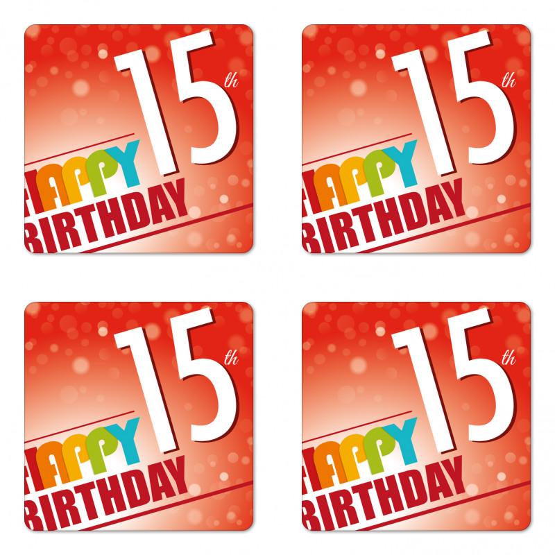 15th Birthday Concept Coaster Set Of Four