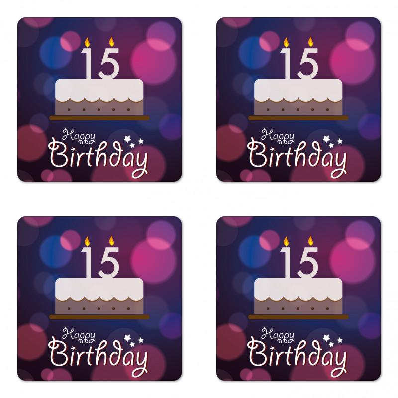 15 Birthday Cake Coaster Set Of Four