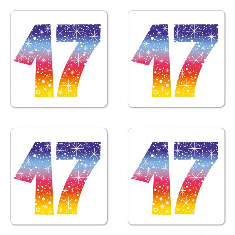 17 Party Coaster Set Of Four