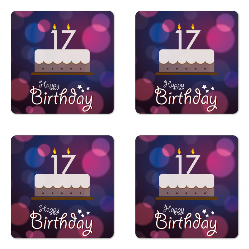 17 Party Cake Coaster Set Of Four