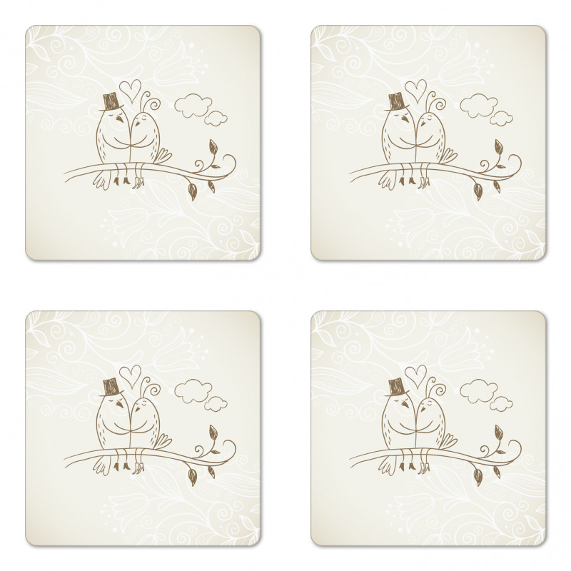 2 Birds Love Coaster Set Of Four