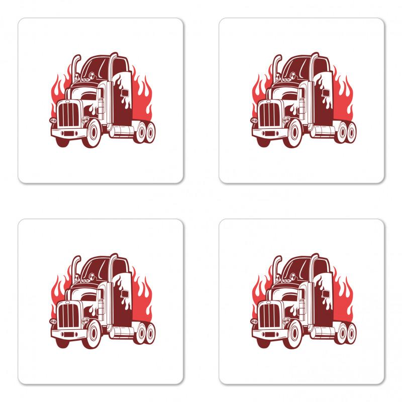 18 Wheeler Silhouette Coaster Set Of Four