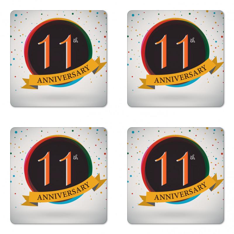 11 Year Retro Style Coaster Set Of Four