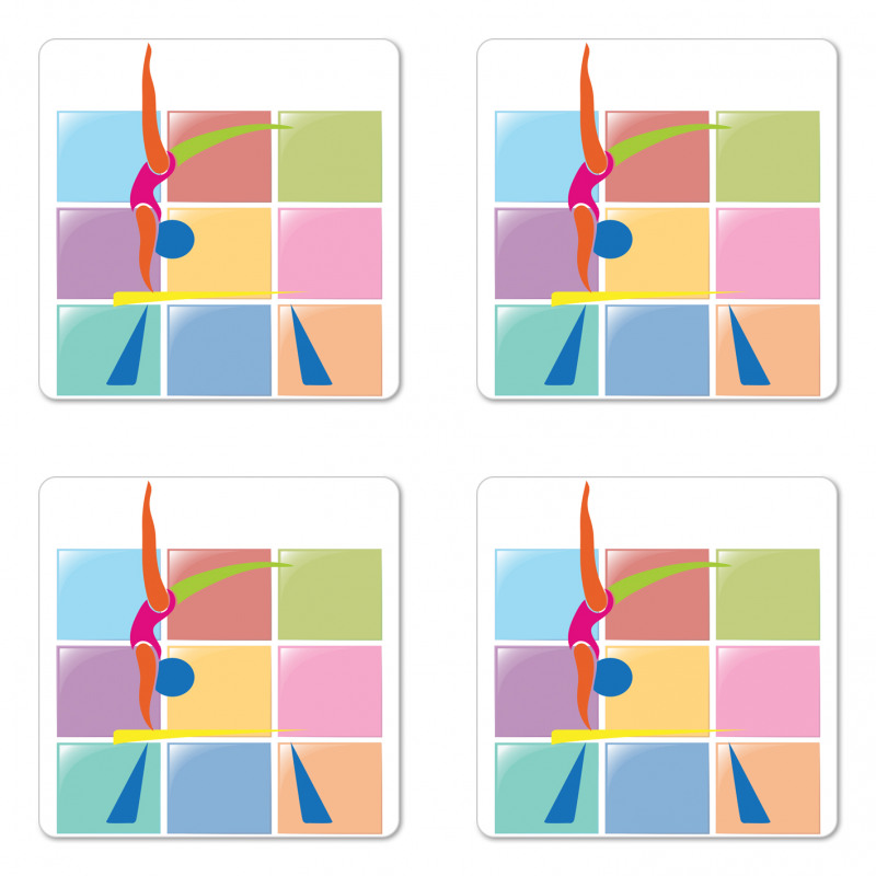 Abstract Athlete Coaster Set Of Four