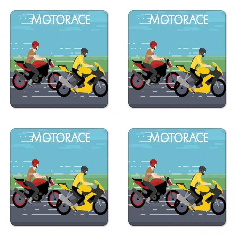 2 Bikers Racing Coaster Set Of Four