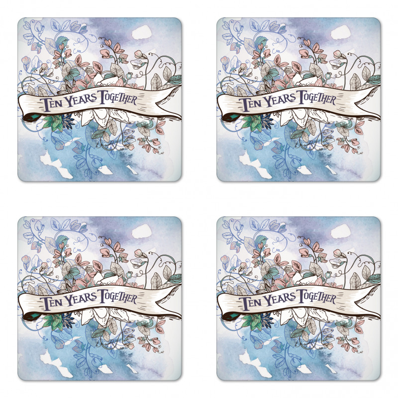 10 Years Floral Art Coaster Set Of Four