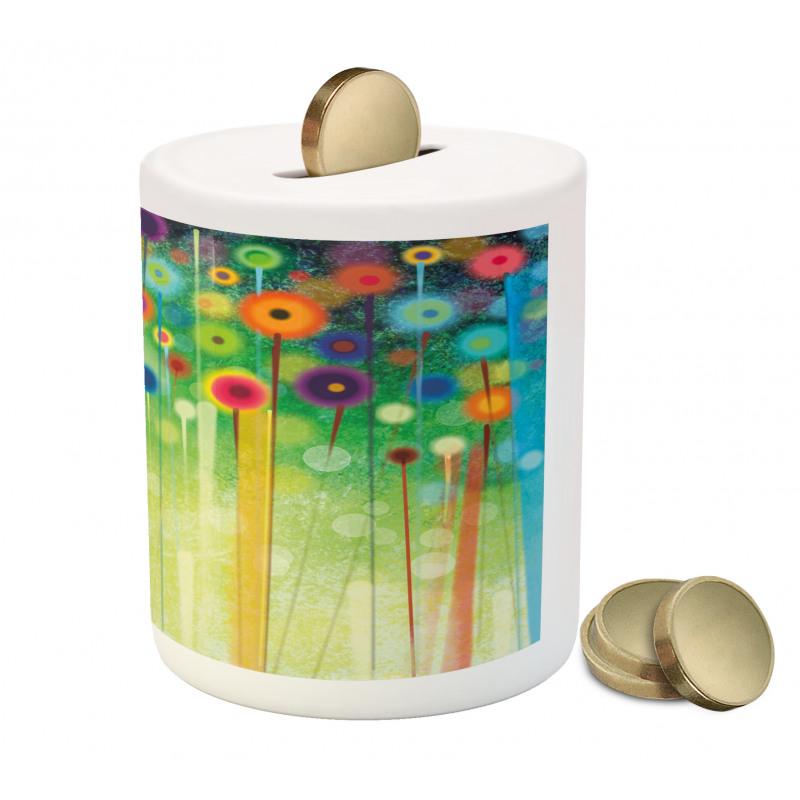 Abstract Art Dandelion Piggy Bank