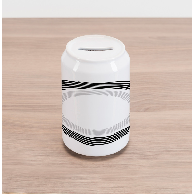 Abstract Art Theme White Can Piggy Bank