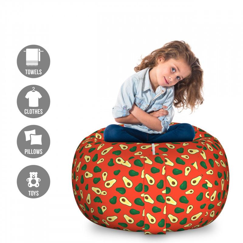 Avokado Pelüş Oyuncak Çuvalı İçi ve Dışı Gözüken Taze Meyveler Tekrarlı