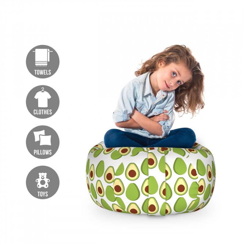 Avokado Pelüş Oyuncak Çuvalı Sağlıklı Meyvenin İçi ve Dışı Tekrarlı