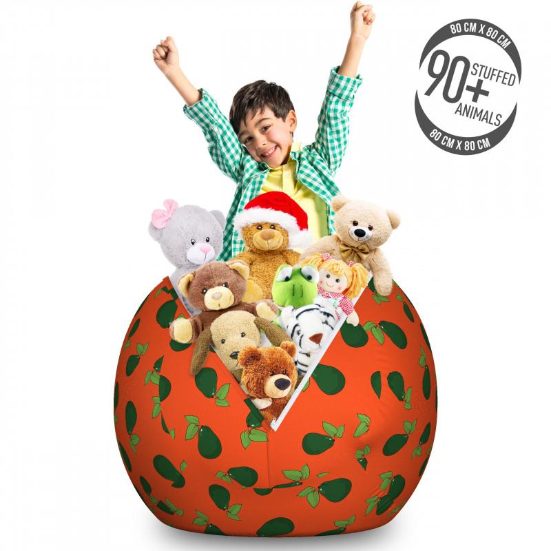 Avokado Pelüş Oyuncak Çuvalı Yaprağıyla Birlikte Sağlıklı Meyve Tekrarlı