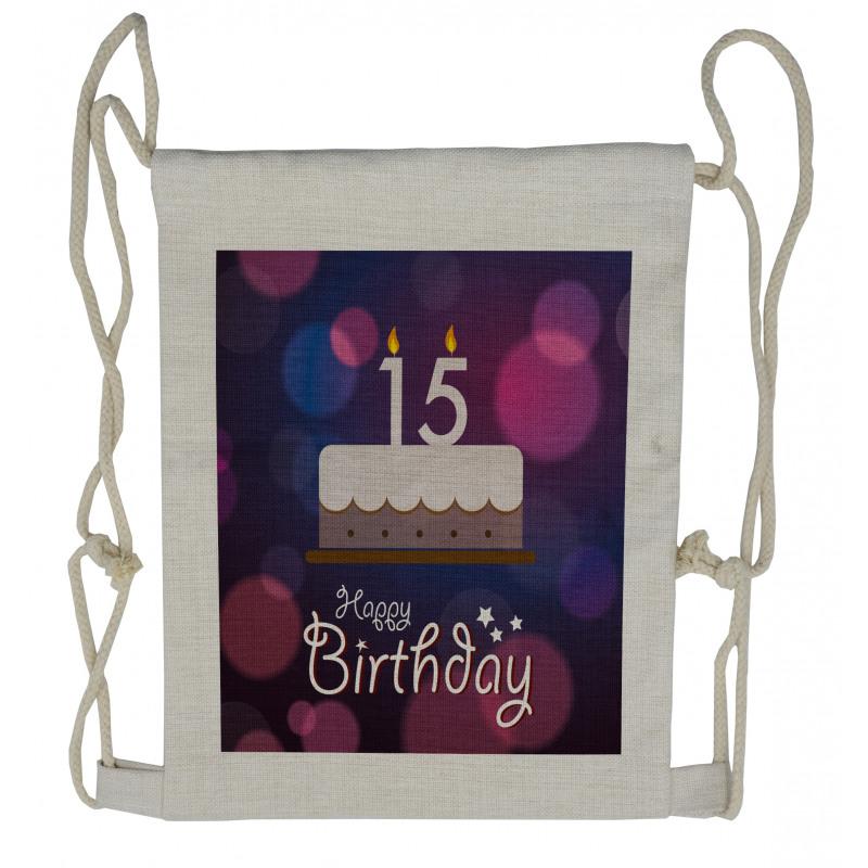 15 Birthday Cake Drawstring Backpack