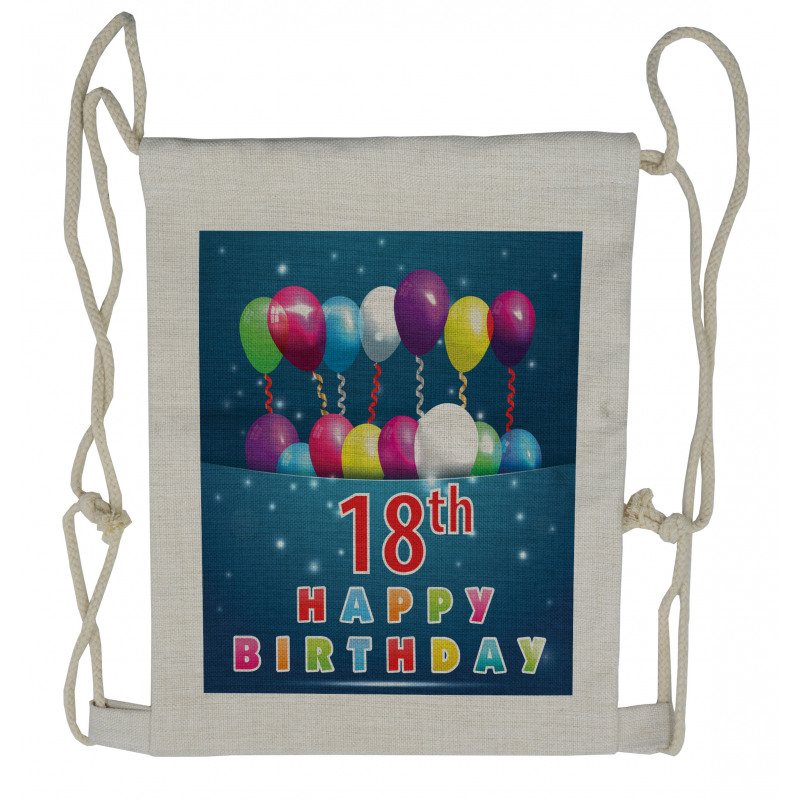 18 Birthday Balloons Drawstring Backpack