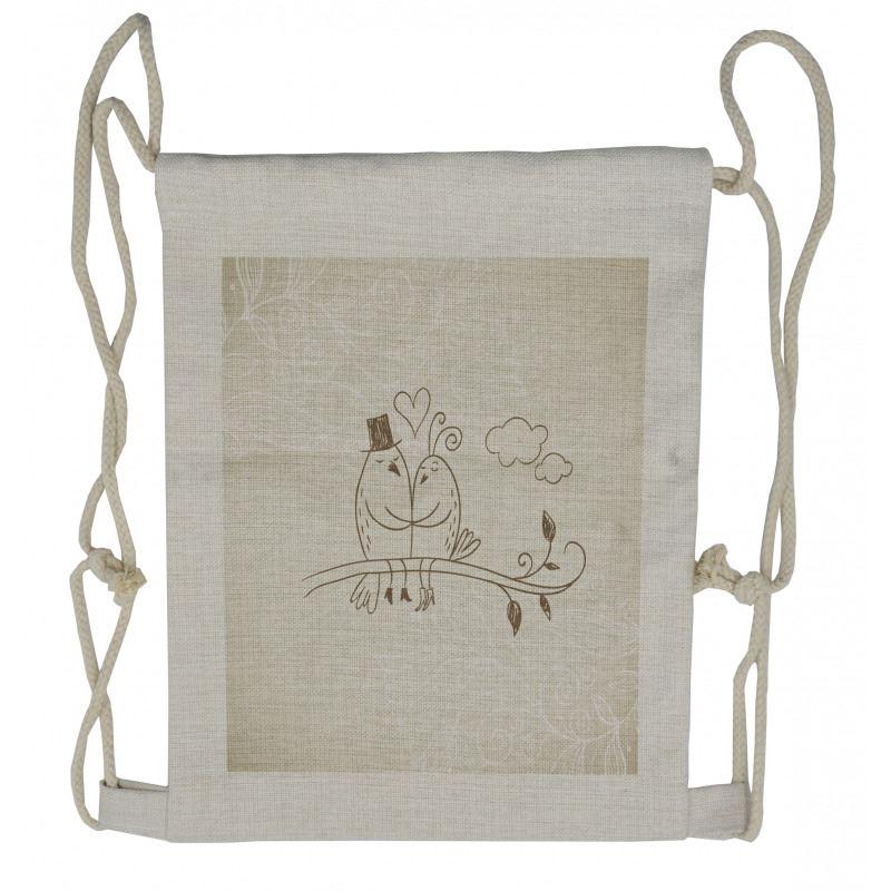 2 Birds Love Drawstring Backpack