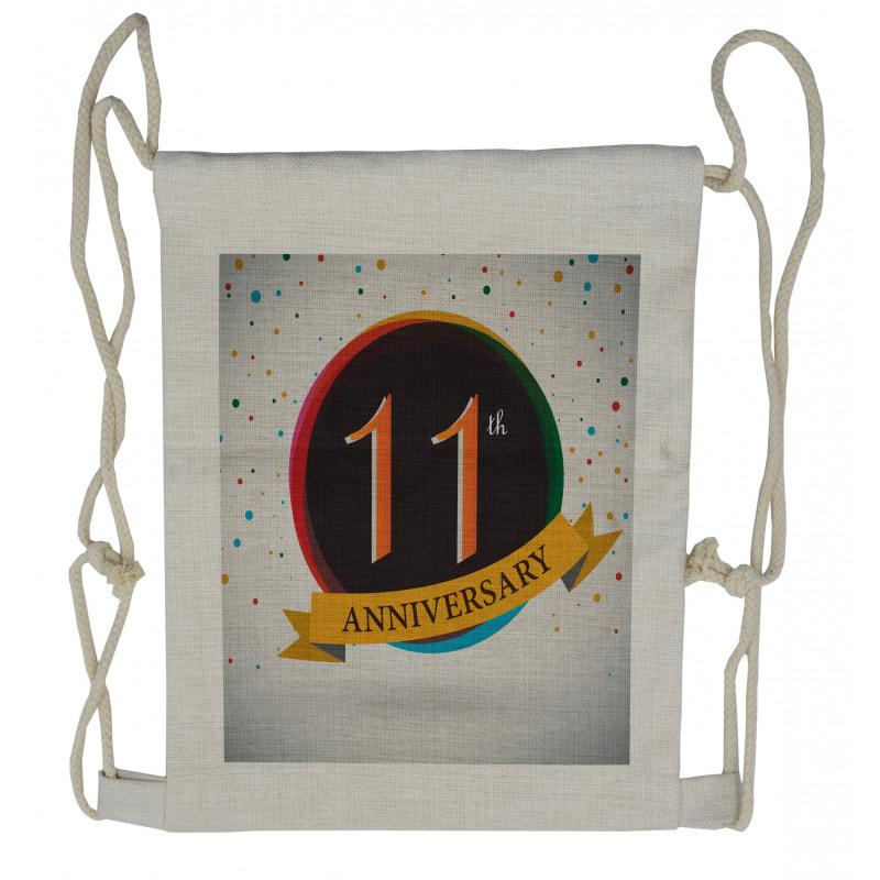 11 Year Retro Style Drawstring Backpack