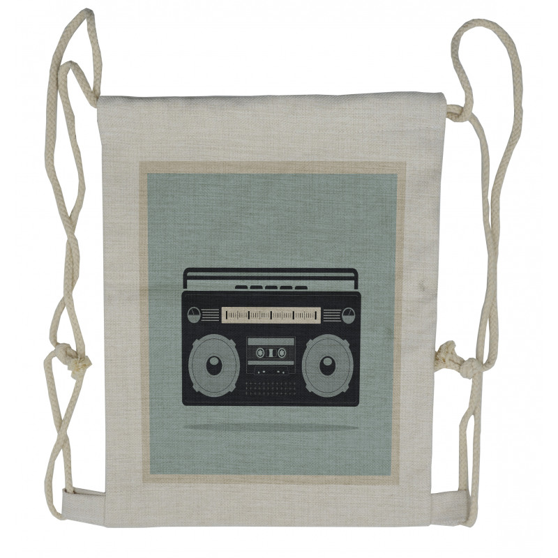 1980s Boombox Image Drawstring Backpack