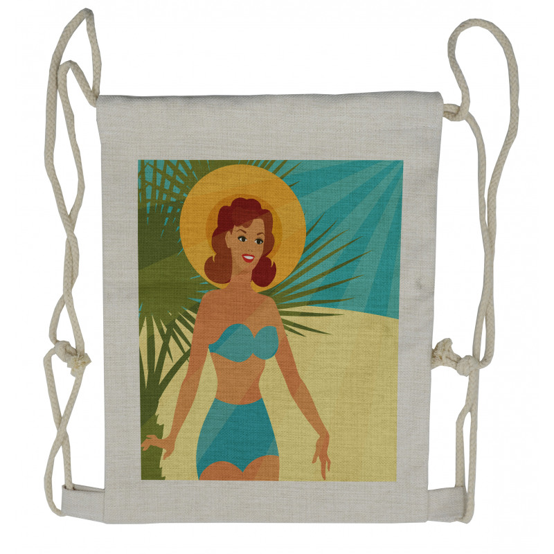 1950s Style Bikini Drawstring Backpack