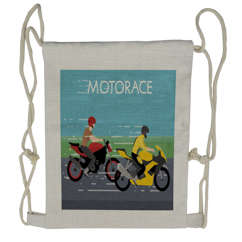 2 Bikers Racing Drawstring Backpack