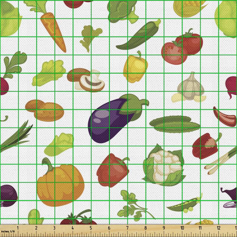 Taze Gıda Parça Kumaş Brokoli Patlıcan Domates Mısır Desenleri