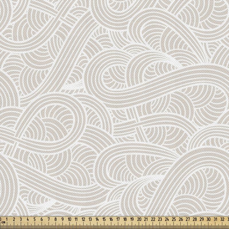 Açık Renkli Parça Kumaş Bej ve Beyaz El Çizimi Dalga Desenli