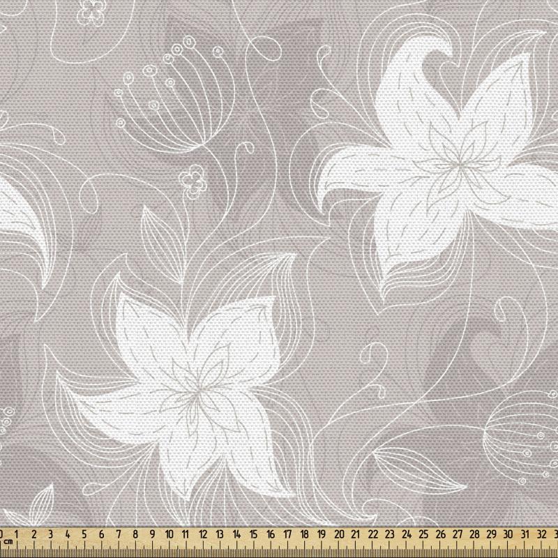 Botanik Parça Kumaş Açık Renklerde Çiçek Deseni Çalışması