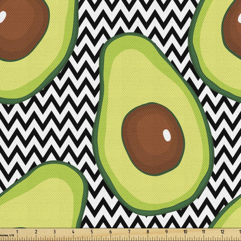 Avokado Parça Kumaş Zikzak Arka Planlı Sağlıklı Meyve Tekrarlı