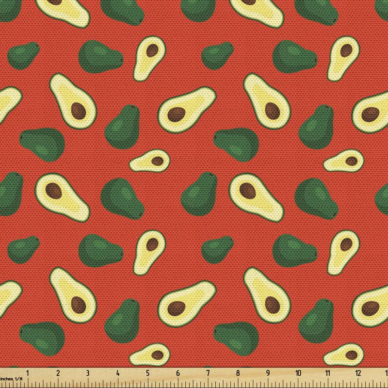 Avokado Parça Kumaş İçi ve Dışı Gözüken Taze Meyveler Tekrarlı