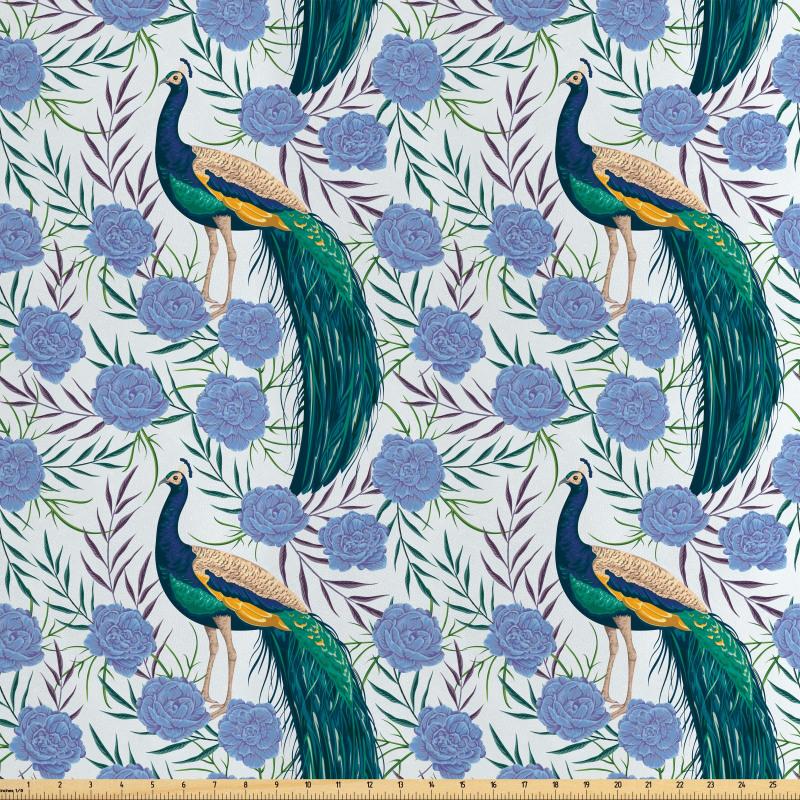 Asya Saten Parça Kumaş Tavus Kuşu ve Yapraklı Çiçeklerin Zarif Çizimi