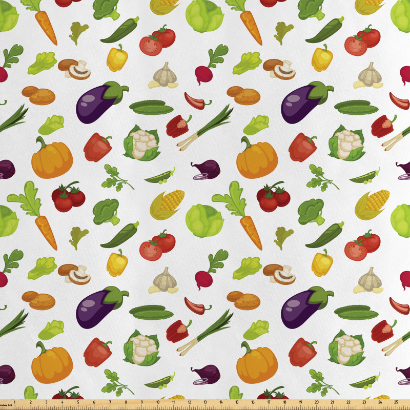 Taze Gıda Saten Parça Kumaş Brokoli Patlıcan Domates Mısır Desenleri
