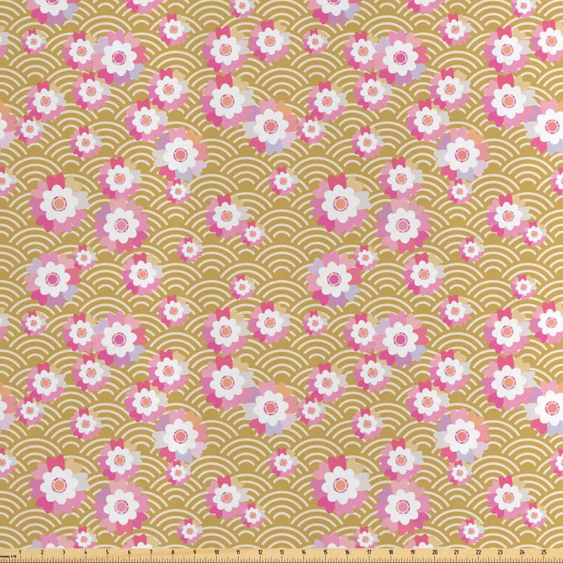 Asya Saten Parça Kumaş Kültürel Japon Deseni Üzerinde Tatlı Çiçekler