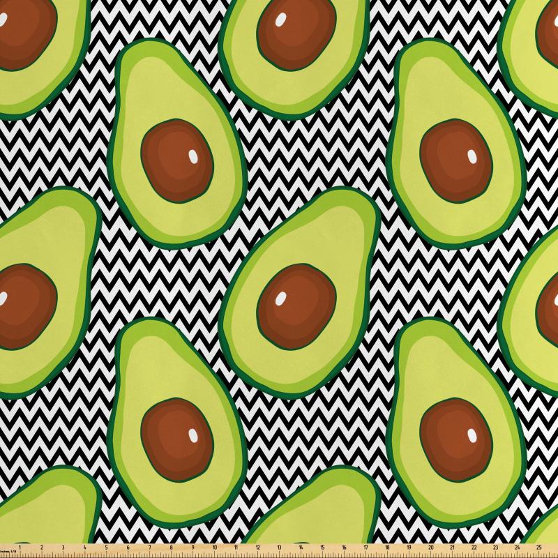 Avokado Saten Parça Kumaş Zikzak Arka Planlı Sağlıklı Meyve Tekrarlı