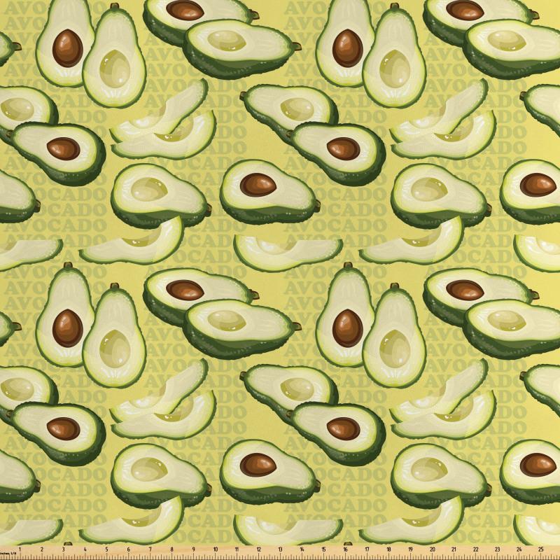 Avokado Saten Parça Kumaş Yazılı Arka Plan Üzerinde Sağlıklı Meyveler