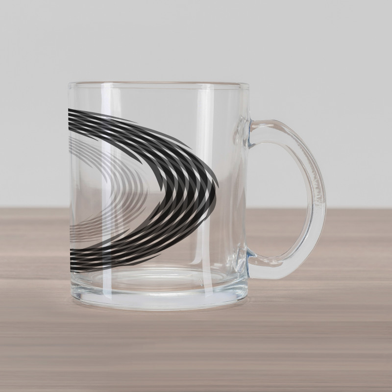 Abstract Art Theme White Glass Mug
