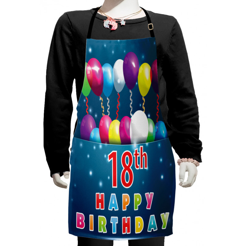 18 Birthday Balloons Kids Apron