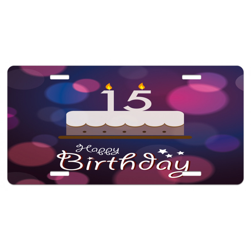 15 Birthday Cake License Plate