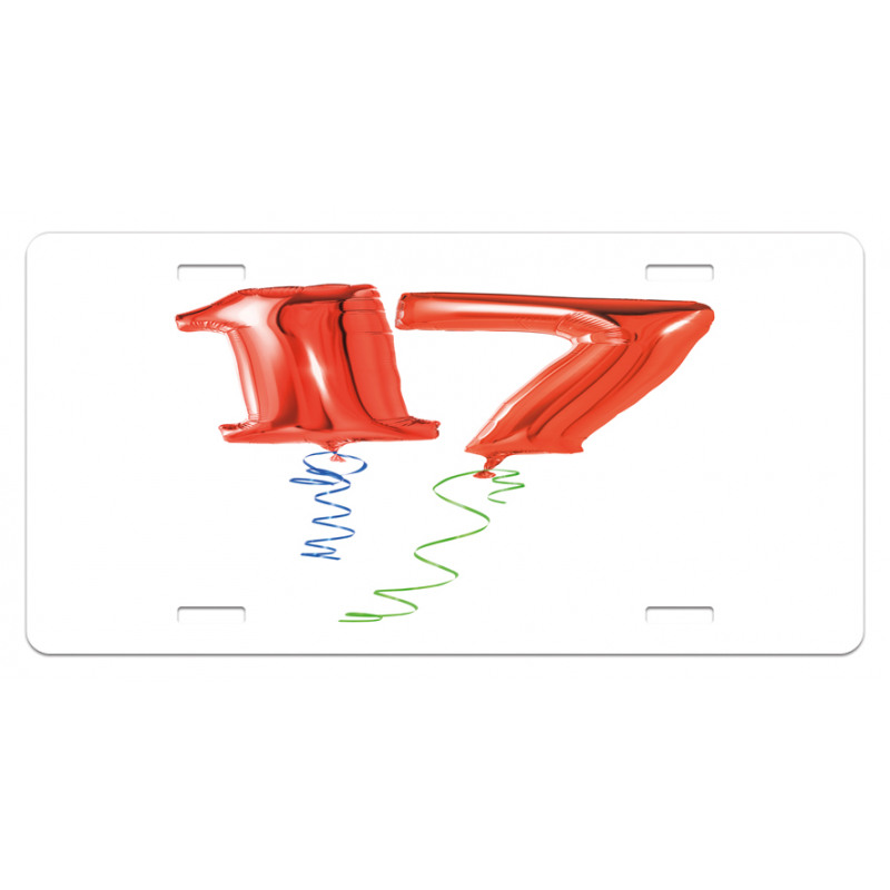 17 Party Red Balloons License Plate