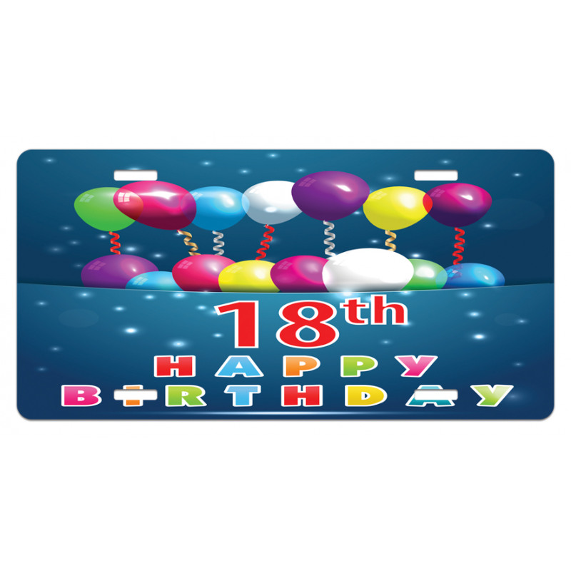 18 Birthday Balloons License Plate
