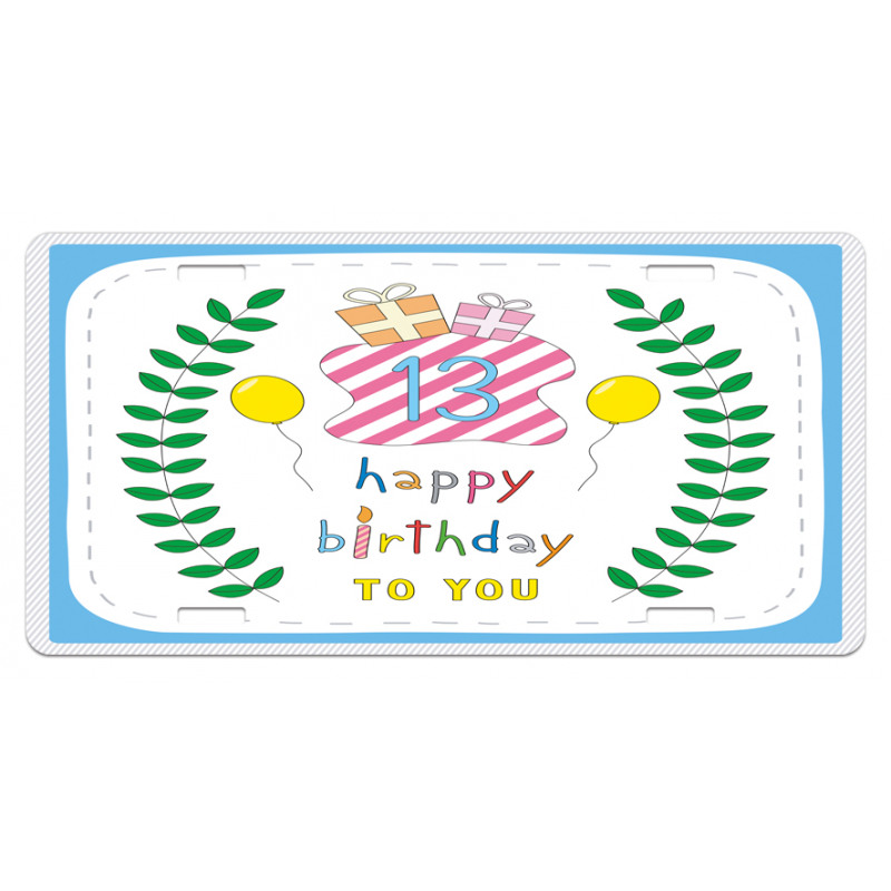 13th Birthday Gifts License Plate