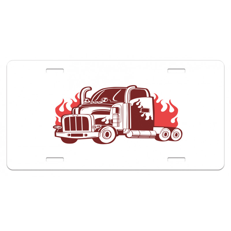 18 Wheeler Silhouette License Plate