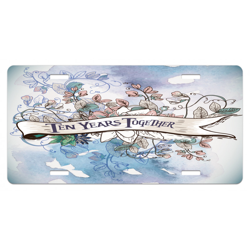 10 Years Floral Art License Plate