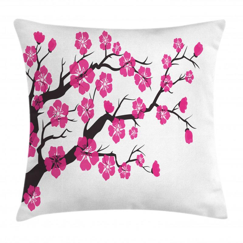 Bahar Minder Kılıfı Romantik Çiçekler ile Dolu Ağaç Dalı Çizimi