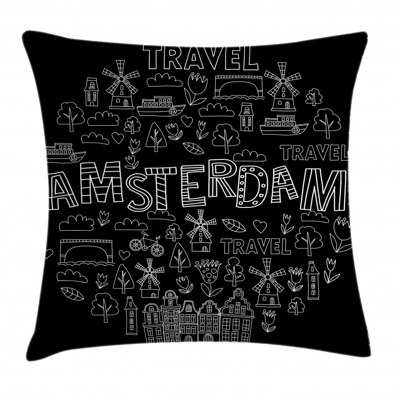 Avrupa Minder Kılıfı Amsterdam Simgeleri Modern ve Grafik Çizim