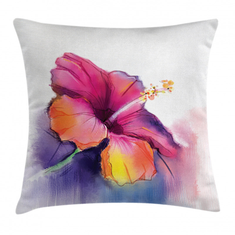 Hibiscus Flower Pastel Pillow Cover