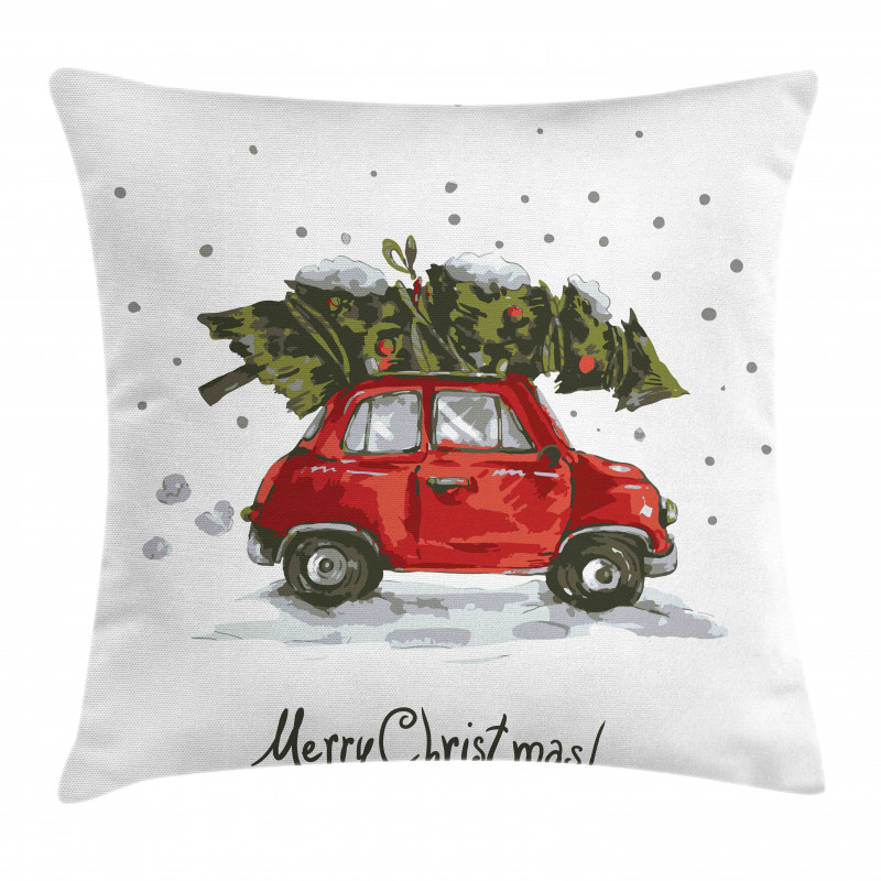 Retro Car with Tree Pillow Cover