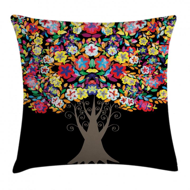 Bahar Minder Kılıfı Rengarenk Çiçekli Ağaç