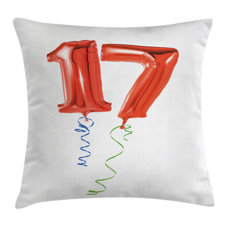 17 Party Red Balloons Pillow Cover