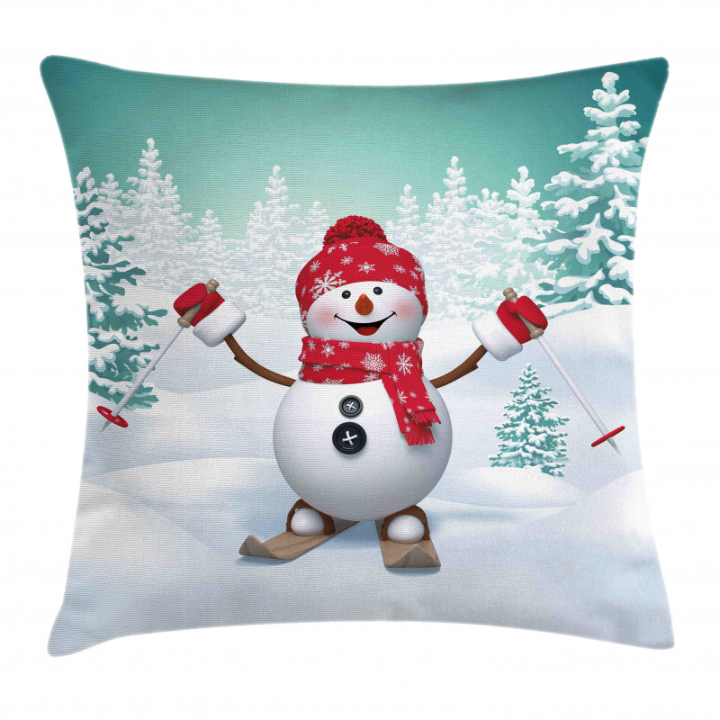 Skiing Snowman Trees Pillow Cover