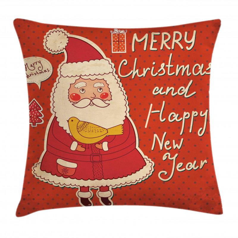 Santa and Yellow Bird Pillow Cover